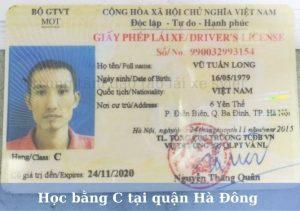Học bằng lái xe ô tô C tại Hà Đông